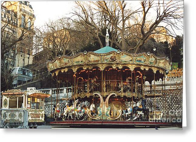 Photos Of Autumn Greeting Cards - Paris Carousel at Montmartre - Sacre Coeur Cathedral Carousel Merry Go Round  Greeting Card by Kathy Fornal