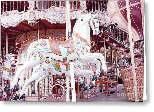 Baby Pink Greeting Cards - Paris Carousel Horses - Shabby Chic Paris Carousel Horse Merry Go Round Greeting Card by Kathy Fornal
