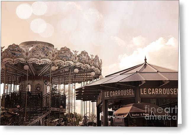 Sepia Prints Greeting Cards - Paris Carousel Merry-Go-Round Sepia - Carousel at Eiffel Tower Le Carrousel Morning Lights Greeting Card by Kathy Fornal