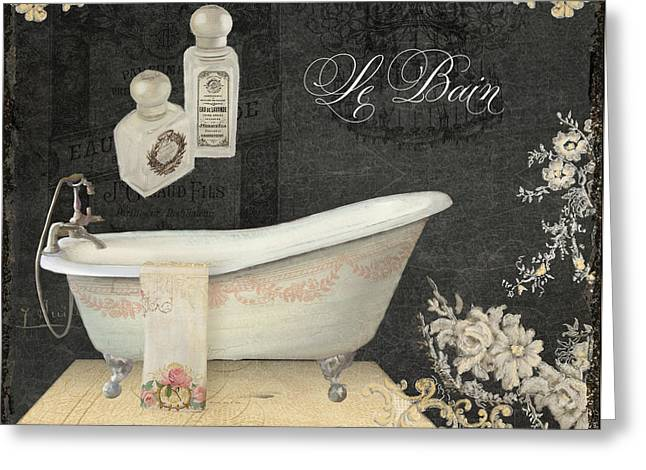Romance Mixed Media Greeting Cards - Paris - Chalkboard Le Bain or The Bath Chandelier and tub with Roses Greeting Card by Audrey Jeanne Roberts