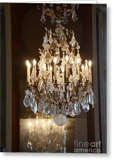 Paris Chandeliers Art - Romantic Paris French Chandelier Reflection - Rodin Museum Chandelier Art Greeting Card by Kathy Fornal