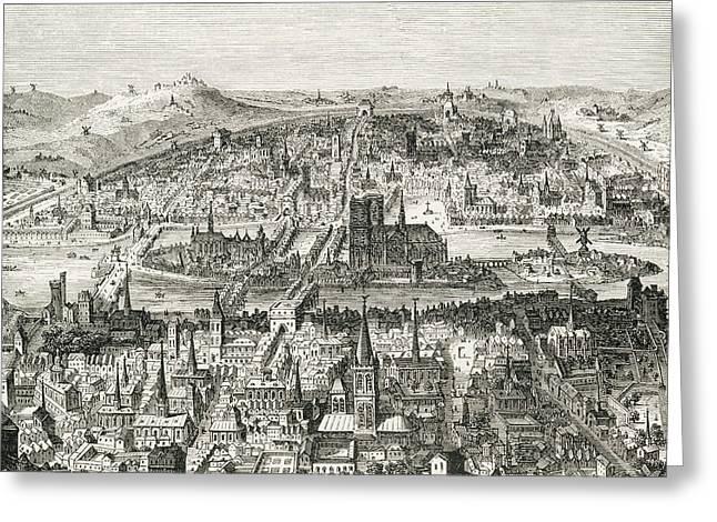 Paris Circa 1610. 19th Century Copy Of Greeting Card by Vintage Design Pics