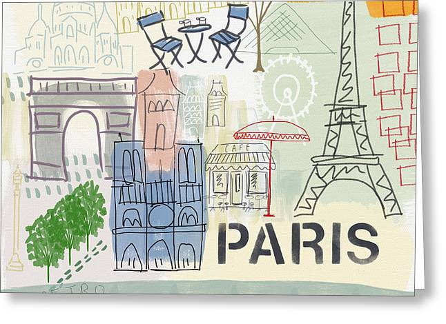 Paris Cityscape- Art By Linda Woods Greeting Card by Linda Woods