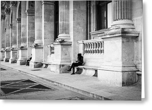 Posters Of Women Pyrography Greeting Cards - Paris  Cour du louvre in panorama.Tags architecture city architecture canvas prins ii-de-france pano Greeting Card by Cyril Jayant