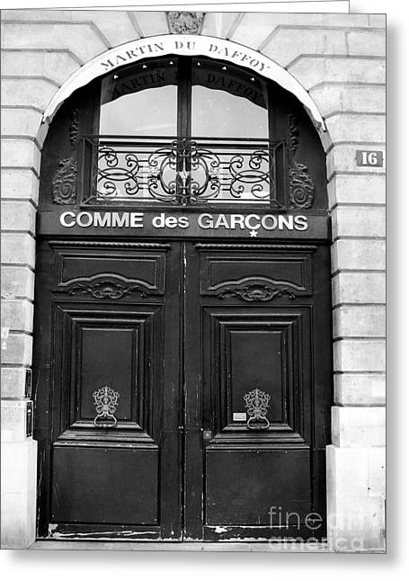 Paris Doors - Black And White French Door - Paris Black And White Doors Decor Greeting Card by Kathy Fornal