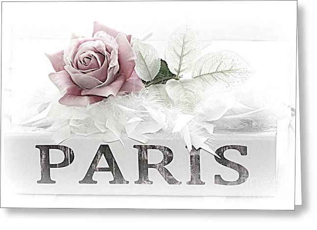 Floral Prints Greeting Cards - Paris Dreamy Pastel Pink Roses on Paris Book - Romantic Paris Roses and Books Shabby Chic Art Greeting Card by Kathy Fornal