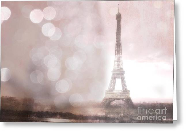 Sepia Prints Greeting Cards - Paris Dreamy Romantic Eiffel Tower Sepia Morning Bokeh Lights Greeting Card by Kathy Fornal