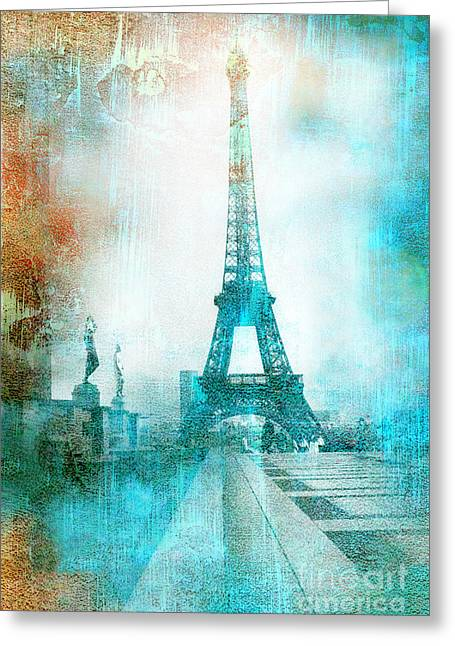 Digital Paint Greeting Cards - Paris Eiffel Tower Aqua Impressionistic Abstract Greeting Card by Kathy Fornal