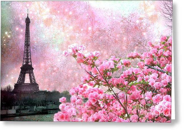 Paris Eiffel Tower Cherry Blossoms - Paris Spring Eiffel Tower Pink Blossoms  Greeting Card by Kathy Fornal