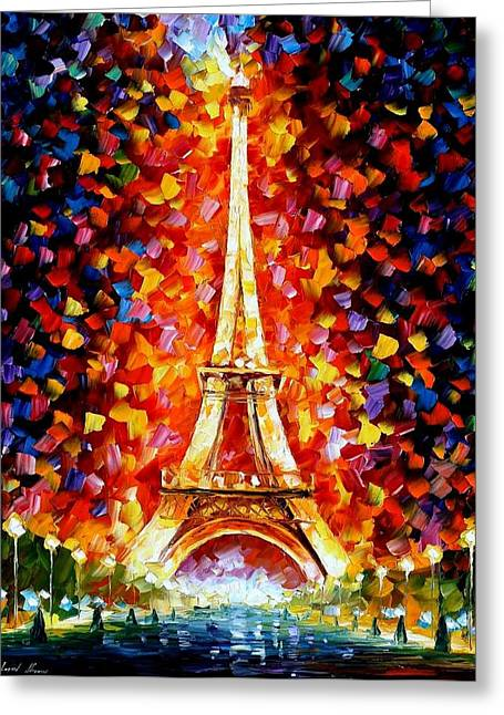 Towering Greeting Cards - Paris - Eiffel Tower Lighted Greeting Card by Leonid Afremov