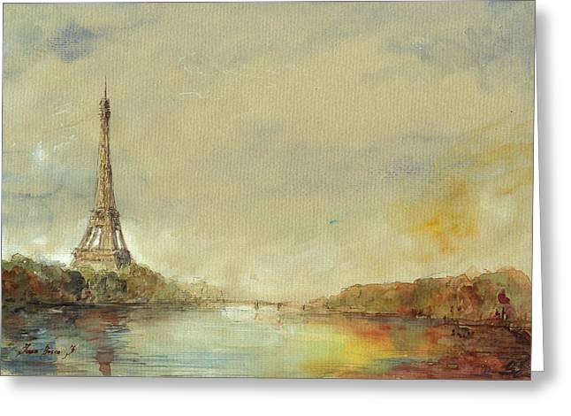 Paris Greeting Cards - Paris Eiffel tower painting Greeting Card by Juan  Bosco