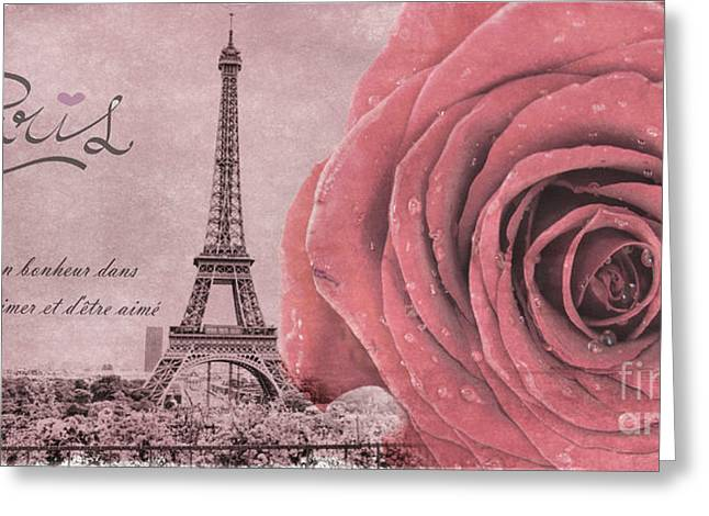 Painted In Paris Greeting Cards - Paris Eiffel Tower with red rose on pink Greeting Card by World Art Photography