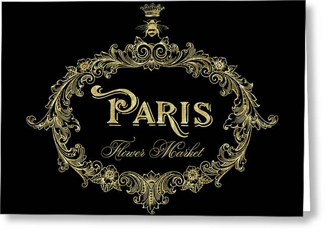 Paris Flower Market, Typography, Gold Queen Bee Greeting Card by Tina Lavoie