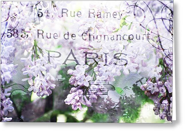 Award Mixed Media Greeting Cards - Paris Spring Flowers - Lilacs and Paris Typography Greeting Card by ArtyZen Studios - ArtyZen Home