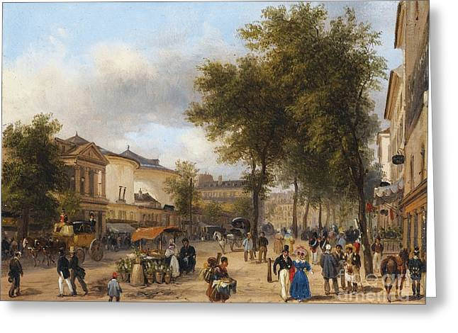 The Boulevards Greeting Cards - Paris Greeting Card by Giuseppe Canella