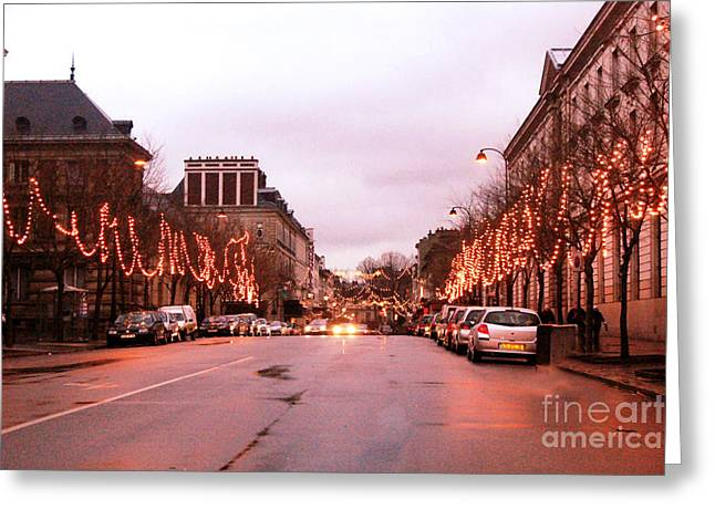Holiday Art Greeting Cards - Paris Holiday Christmas Street Scene - Christmas In Paris Greeting Card by Kathy Fornal