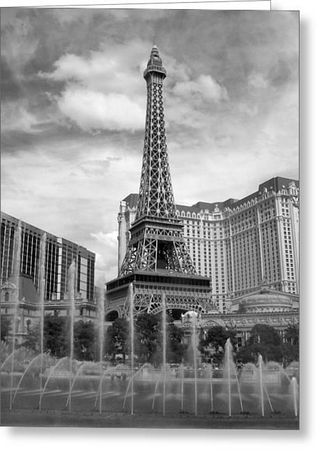 Paris Hotel - Las Vegas B-w Greeting Card by Anita Burgermeister