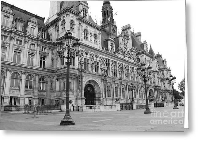 Paris Hotel De Ville Landmark - Paris Hotel De Ville Black And White Architecture Landscape Greeting Card by Kathy Fornal
