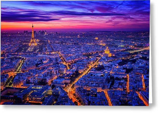 Blue Hour Greeting Cards - Paris I Greeting Card by Juan Pablo De