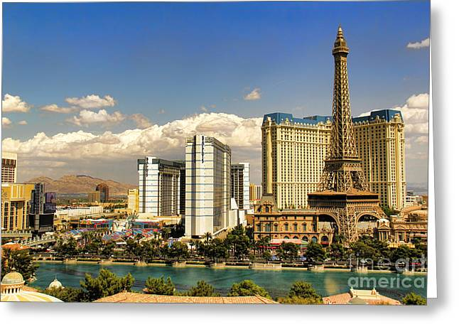 Reflection In Water Greeting Cards - Paris in Las Vegas Greeting Card by Mariola Bitner