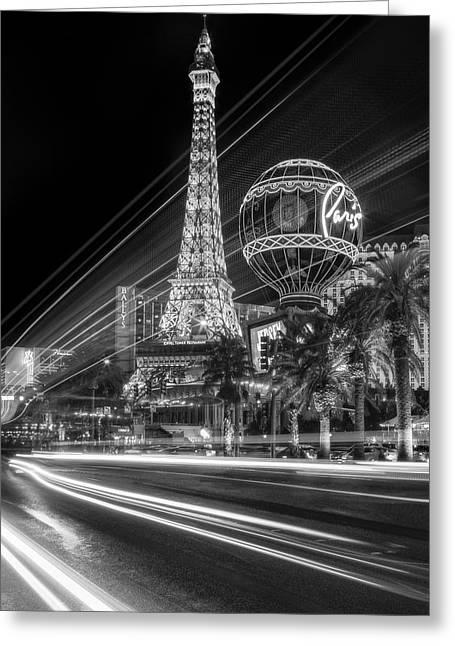 Paris In Las Vegas Strip Light Show Bw Greeting Card by Susan Candelario