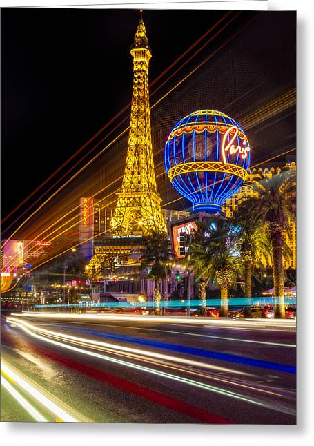 Paris In Las Vegas Strip Light Show Greeting Card by Susan Candelario