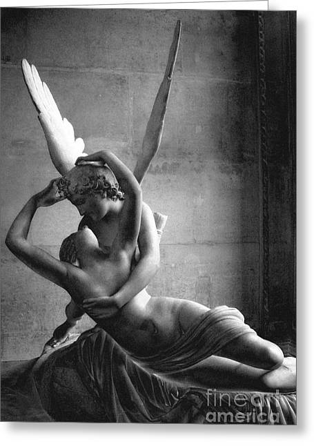 Paris In Love - Eros And Psyche Romantic Lovers - Paris Eros Psyche Louvre Sculpture Black White Art Greeting Card by Kathy Fornal