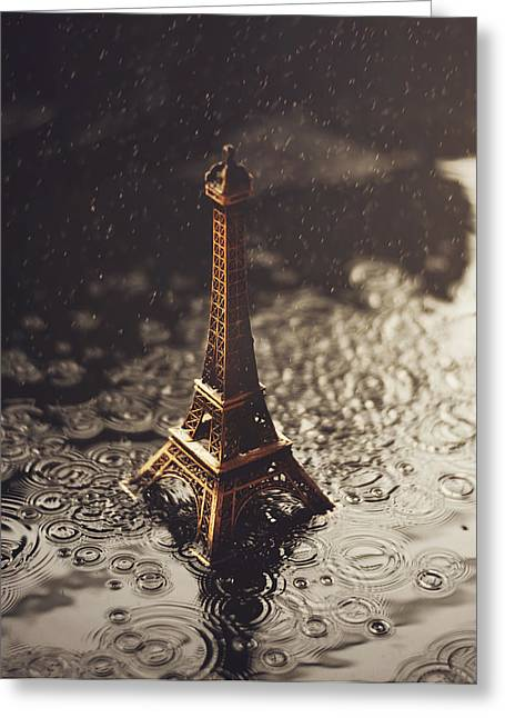 Puddle Greeting Cards - Paris in the rain Greeting Card by Ashraful Arefin
