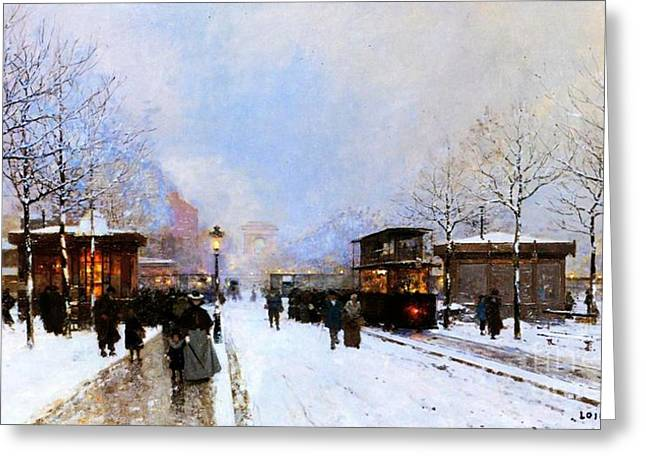 Arc De Triomphe Greeting Cards - Paris in Winter Greeting Card by Luigi Loir