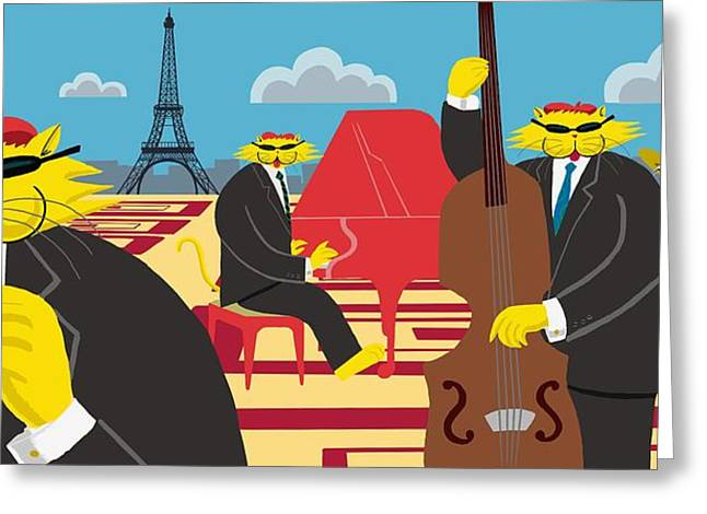 Paris Kats - The CoolKats Greeting Card by Darryl Glenn Daniels