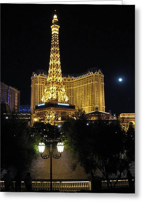 Streetlight Digital Art Greeting Cards - Paris Las Vegas Greeting Card by Julie Niemela
