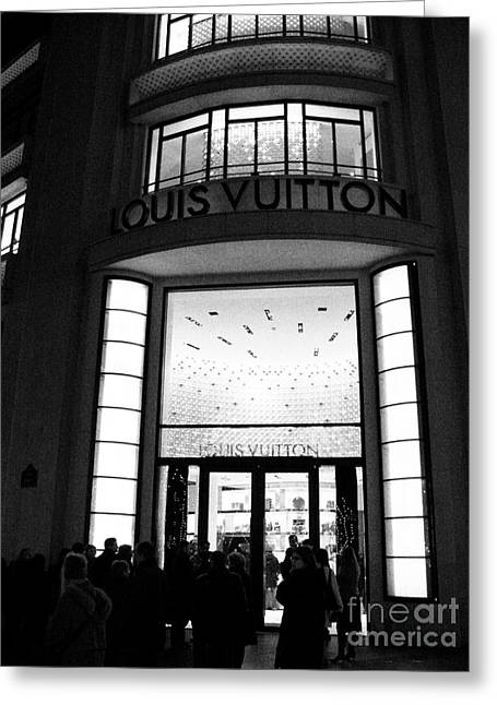Paris Shops Greeting Cards - Paris Louis Vuitton Boutique - Louis Vuitton Paris Black and White Art Deco Greeting Card by Kathy Fornal