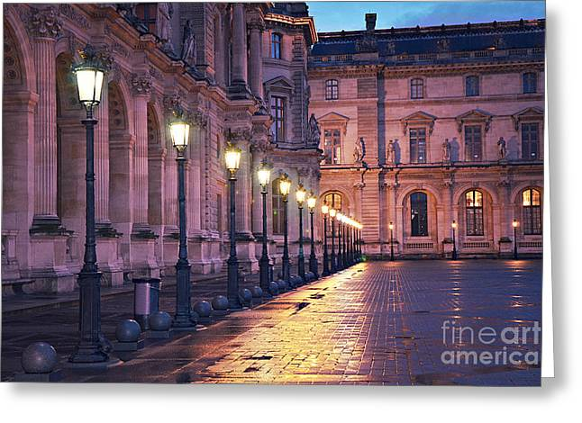 Paris Louvre Museum Street Lanterns Night Landscape - Louvre Museum Architecture Rainy Night Lights  Greeting Card by Kathy Fornal