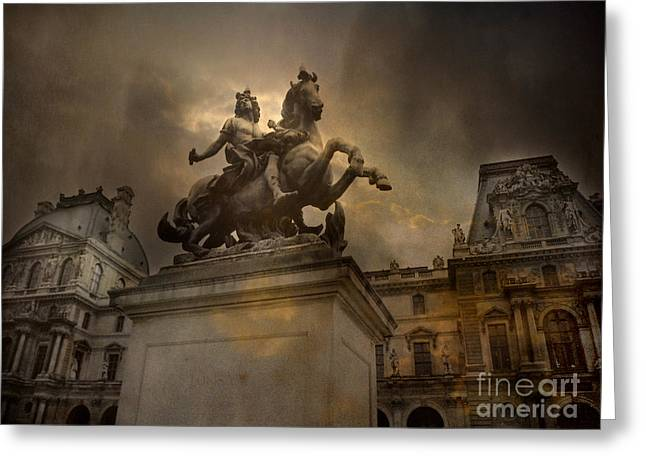 Paris - Louvre Palace - Kings Of Paris - King Louis Xiv Monument Sculpture Statue Greeting Card by Kathy Fornal