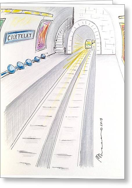 Transfer Drawings Greeting Cards - Paris Metro  Greeting Card by Barbara Chase