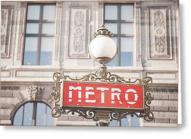 Greeting Cards - Paris Metro sign Architecture Greeting Card by Ivy Ho