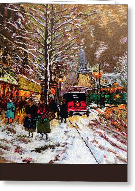 Cities Tapestries - Textiles Greeting Cards - Paris Greeting Card by Mimoza Xhaferi