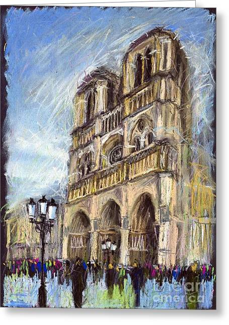 Streets Greeting Cards - Paris Notre-Dame de Paris Greeting Card by Yuriy  Shevchuk