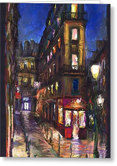 Pastels Greeting Cards - Paris Old street Greeting Card by Yuriy  Shevchuk