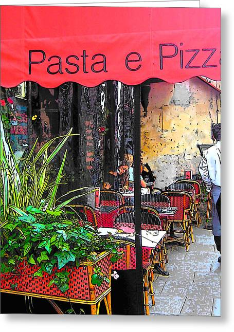 Paris Shops Greeting Cards - Paris Pasta and Pizza shop Greeting Card by Jan Matson
