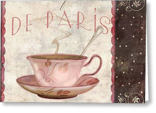 Cake Paintings Greeting Cards - Paris Patisserie Cafe de Paris Greeting Card by Mindy Sommers