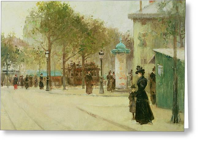 Oil Lamp Greeting Cards - Paris Greeting Card by Paul Cornoyer