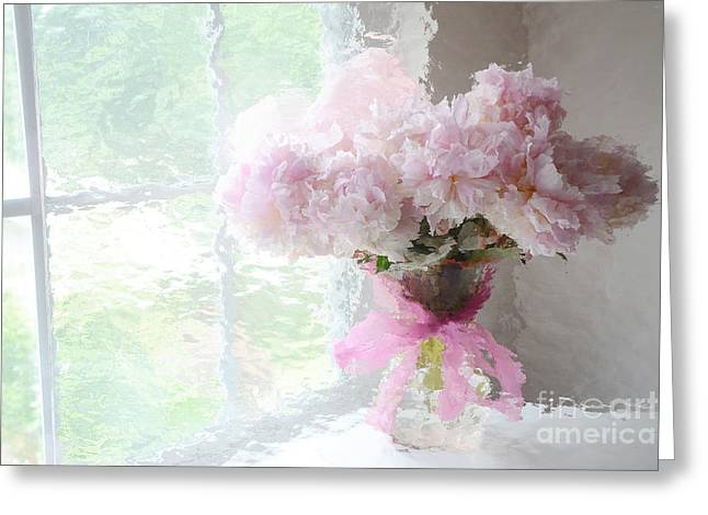 Floral Fine Art Photography Greeting Cards - Paris Peonies Shabby Chic Dreamy Pink Peonies Romantic Cottage Chic Paris Impressionistic Peonies  Greeting Card by Kathy Fornal