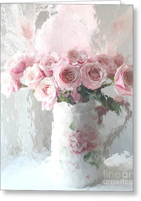 Rose Print Greeting Cards - Paris Pink Impressionistic French Roses In Pink White Vase - Shabby Chic Pink Roses Fine Art Print Greeting Card by Kathy Fornal