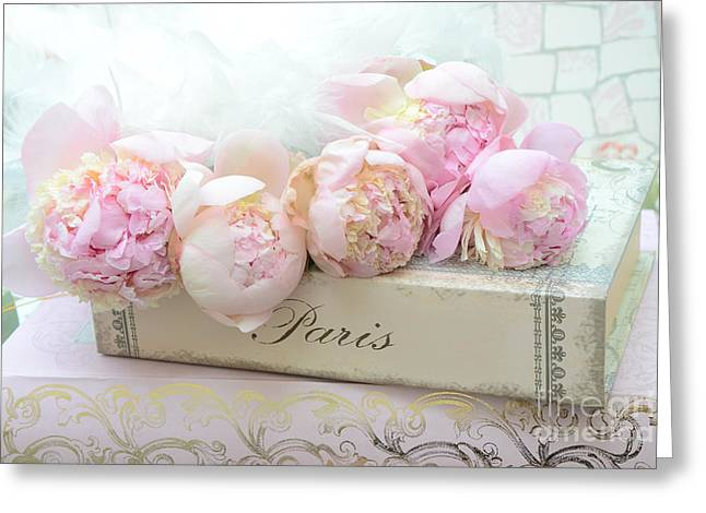 Peony Art Greeting Cards - Paris Pink Peonies Romantic Shabby Chic French Market Peonies - Paris Romantic Peonies and Book Art Greeting Card by Kathy Fornal