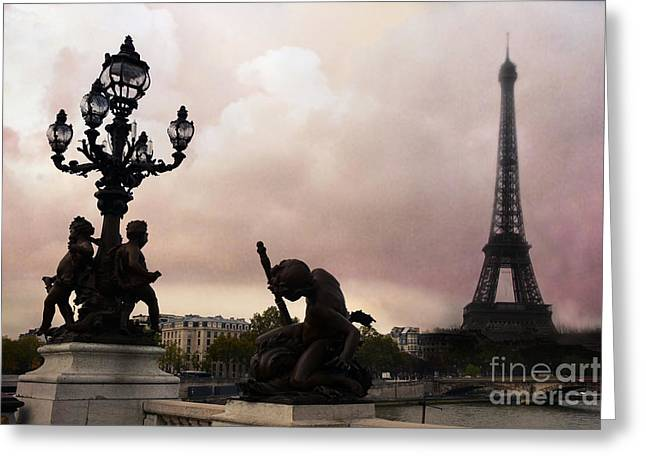 Landmark And Bridges Greeting Cards - Paris Pont Alexandre III Bridge - Dreamy Romantic Paris Bridge With Cherubs Lanterns Eiffel Tower Greeting Card by Kathy Fornal