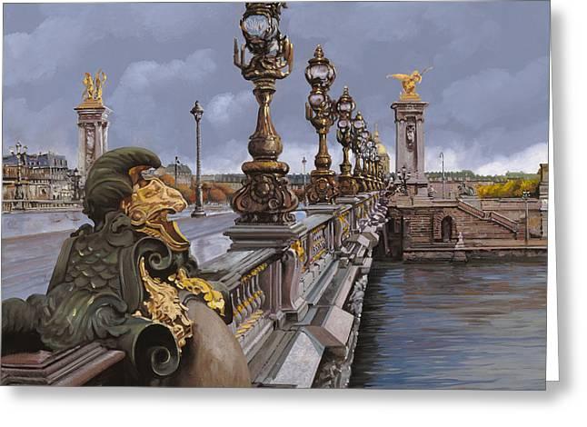 Paris-pont Alexandre IIi Greeting Card by Guido Borelli