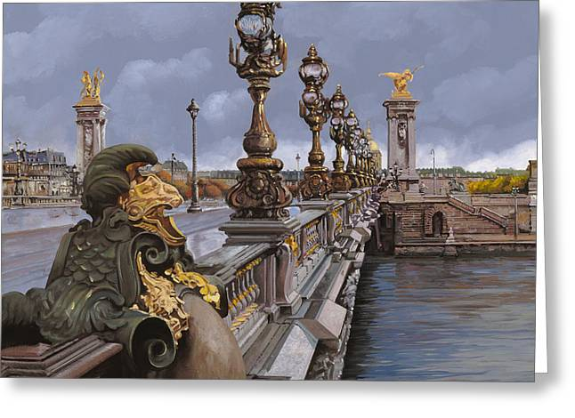 Italy Greeting Cards - Paris-pont Alexandre III Greeting Card by Guido Borelli