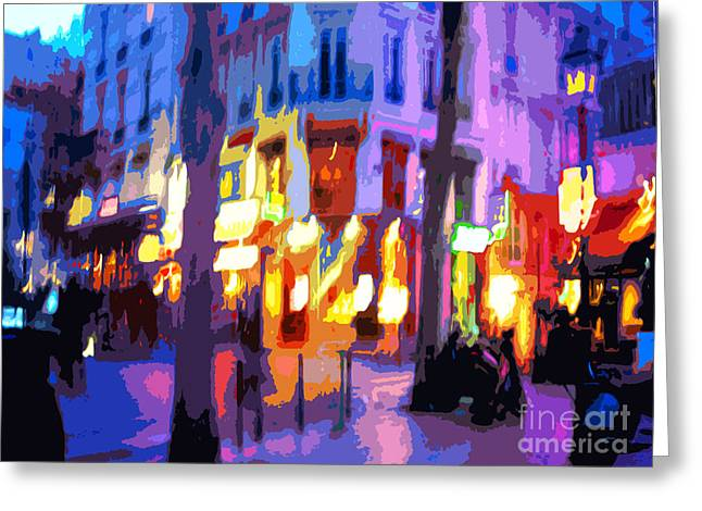 Abstract Digital Art Greeting Cards - Paris Quartier Latin 02 Greeting Card by Yuriy  Shevchuk