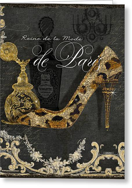 Leopard Skin Greeting Cards - Paris - Queen of Fashion - Reine de la Mode de Paris Greeting Card by Audrey Jeanne Roberts